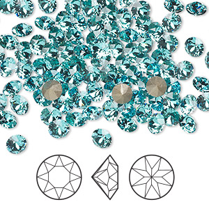chaton, swarovski crystal rhinestone, light turquoise, foil back, 4.4-4.6mm xirius round (1088), ss19. sold per pkg of 1,440 (10 gross).