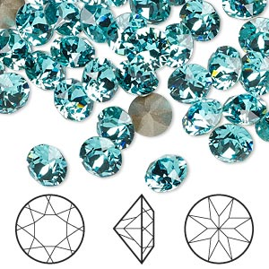 chaton, swarovski crystal rhinestone, light turquoise, foil back, 7.07-7.27mm xirius round (1088), ss34. sold per pkg of 144 (1 gross).