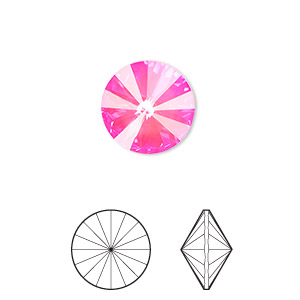 chaton, swarovski crystal rhinestone with third-party coating, crystal passions, ultra pink ab, 12mm faceted rivoli (1122). sold per pkg of 2.