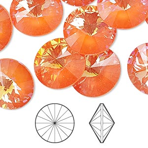 chaton, swarovski crystal rhinestone with third-party coating, crystal passions, ultra orange ab, 16mm faceted rivoli (1122). sold per pkg of 2.