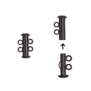 clasp, 2-strand slide lock, electro-coated brass, black, 16.5x6mm tube. sold per pkg of 2.