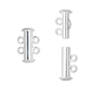 clasp, 2-strand slide lock, silver-plated brass, 16x6mm tube. sold per pkg of 100.