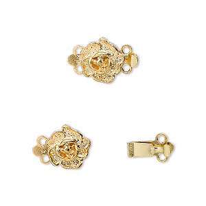 clasp, 2-strand tab, gold-plated brass, 9x9mm single-sided rose. sold per pkg of 10.