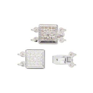 clasp, 2-strand tab, silver-plated brass, 9x9mm filigree square with flower design. sold per pkg of 2.
