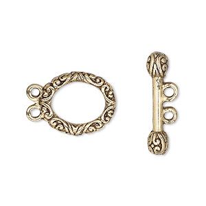 clasp, 2-strand toggle, antique gold-plated pewter (tin-based alloy), 18x13mm floral oval. sold per pkg of 2.