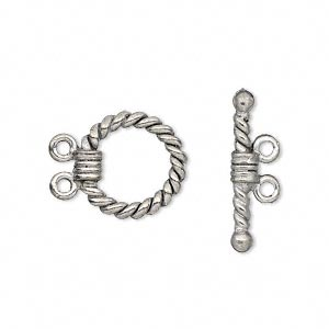 clasp, 2-strand toggle, antiqued pewter (tin-based alloy), 14mm twisted round. sold per pkg of 2.