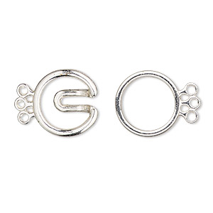 clasp, 3-strand hook, silver-finished pewter (zinc-based alloy), 22x14mm double round. sold per pkg of 4.