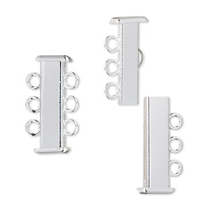 clasp, 3-strand slide lock, silver-plated brass, 21x7mm rectangle tube. sold per pkg of 4.