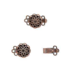 clasp, 3-strand tab, antique copper-plated brass, 9x9mm flower. sold per pkg of 10.