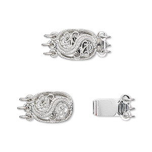 clasp, 3-strand tab, antique silver-plated brass, 12x9mm filigree oval. sold per pkg of 4.