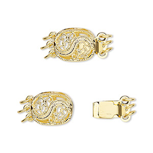 clasp, 3-strand tab, gold-plated brass, 12x9mm filigree oval. sold per pkg of 4.