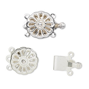 clasp, 3-strand tab, silver-finished brass, 13mm round with pie design. sold per pkg of 10.