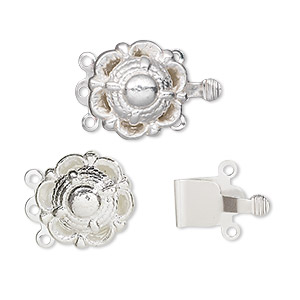 clasp, 3-strand tab, silver-finished brass, 14mm round with scallop design. sold per pkg of 10.