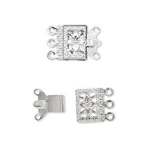 clasp, 3-strand tab, silver-plated brass, 10x7mm filigree square. sold per pkg of 100.