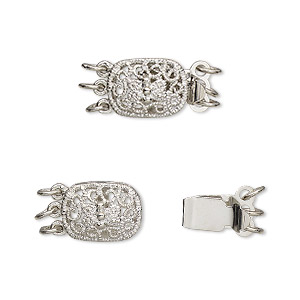 clasp, 3-strand tab, silver-plated brass, 12x9x5mm filigree oval. sold per pkg of 4.