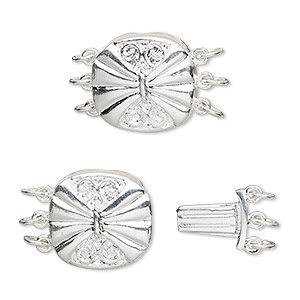 clasp, 3-strand tab, silver-plated brass, 15x14.5mm filigree round with butterfly design. sold per pkg of 4.
