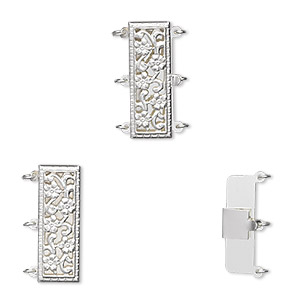 clasp, 3-strand tab, sterling silver, 23.5x9mm rectangle with flowers. sold individually.