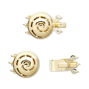 clasp, 3-strand tab, vermeil and gold-plated brass, 13mm flat round with swirl. sold individually.