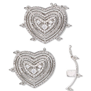 clasp, 3-strand tab with safety, cubic zirconia and rhodium-plated brass, clear, 30x25.5mm domed open heart with 6 jumprings. sold individually.