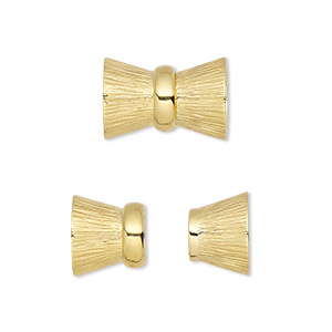 clasp, 4-strand magnetic, vermeil, 16x11mm bowtie. sold individually.