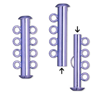 clasp, 4-strand slide lock, electro-coated brass, purple, 26x6mm tube. sold per pkg of 2.