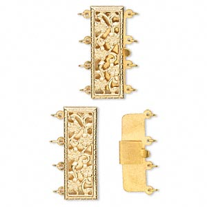 clasp, 4-strand tab, 14kt gold-filled, 23.5x9mm rectangle. sold individually.