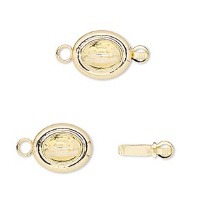 clasp, almost instant jewelry, tab, gold-plated brass, 13x11mm oval with 8x6mm oval setting. sold per pkg of 4.