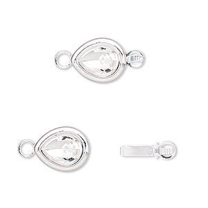 clasp, almost instant jewelry, tab, silver-plated brass, 12x10mm teardrop with 8x6mm pear setting. sold per pkg of 4.
