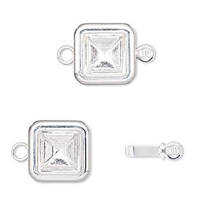 clasp, almost instant jewelry, tab, silver-plated brass, 13x13mm square with 8x8mm square setting. sold per pkg of 4.