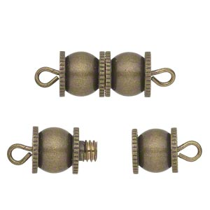 clasp, barrel, antique gold-finished brass, 16x8mm fancy double round. sold per pkg of 4.