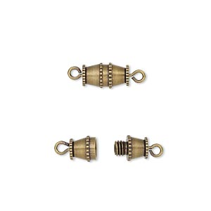 clasp, barrel, antique gold-plated brass, 10x5mm. sold per pkg of 10.