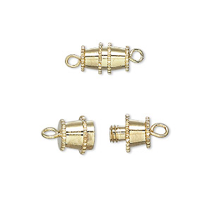 clasp, barrel, gold-plated brass, 10x5mm. sold per pkg of 100.