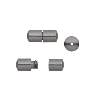 clasp, barrel, gunmetal-finished brass, 12x5mm smooth round tube. sold per pkg of 20.