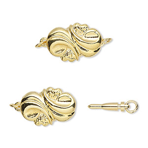 clasp, bullet, gold-plated brass, 16x11mm fancy twisted puffed oval. sold per pkg of 4.