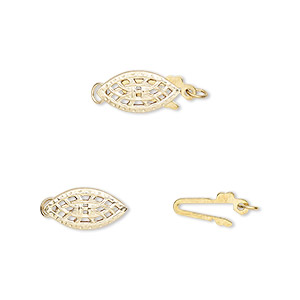 clasp, fishhook, 14kt gold-filled, 12x6mm filigree oval. sold per pkg of 2.
