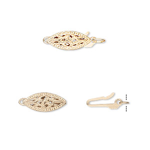 clasp, fishhook, 14kt gold-filled, 13x5.5mm fancy oval. sold per pkg of 2.