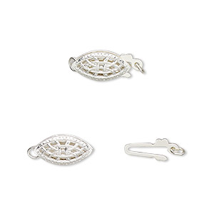 clasp, fishhook, sterling silver, 12x6mm oval with cutouts. sold per pkg of 2.