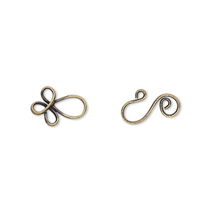 clasp, hook-and-eye, antique gold-plated brass, 22x8.5mm swirl. sold per pkg of 20.
