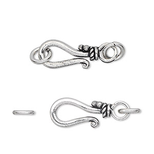 clasp, hook-and-eye, antique silver-plated white brass, 17x9mm with rope design and 2 jumprings. sold per pkg of 4.