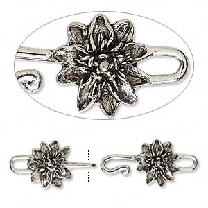 clasp, hook-and-eye, antiqued pewter (tin-based alloy), 47x15mm with flower. sold individually.