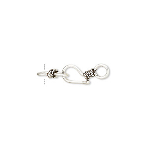 clasp, hook-and-eye, antiqued sterling silver, 18x6mm with twisted rope design. sold per pkg of 4.