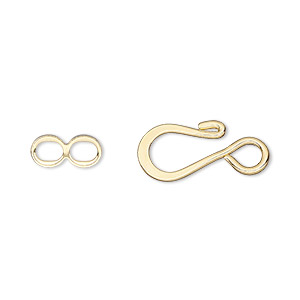 clasp, hook-and-eye, gold-plated brass, 12.5x8.5mm flat. sold per pkg of 100.