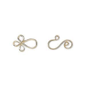 clasp, hook-and-eye, gold-plated brass, 22x8.5mm swirl. sold per pkg of 24.