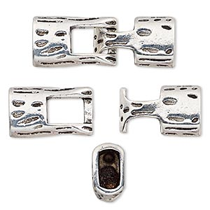 clasp, hook, antique silver-plated pewter (zinc-based alloy), 39x14mm textured with glue-in ends, 10x5.5mm hole. sold individually.