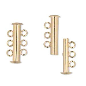 clasp, jbb findings, 3-strand slide lock, vermeil, 21x5mm tube. sold individually.