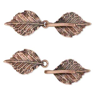 clasp, jbb findings, hook-and-eye, antique copper-plated brass, 51x15mm double-sided leaves with hidden loops. sold individually.