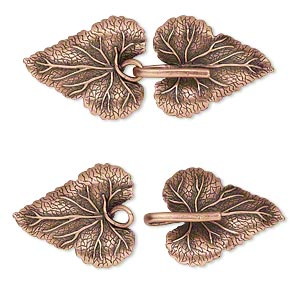 clasp, jbb findings, hook-and-eye, antique copper-plated brass, 56x23mm single-sided leaves with hidden loops. sold individually.