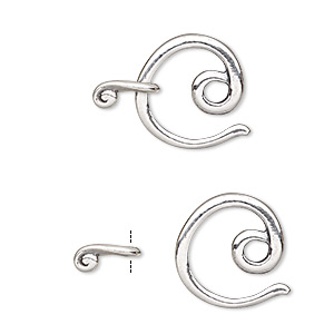 clasp, jbb findings, hook-and-eye, sterling silver, 16x15mm circle. sold individually.