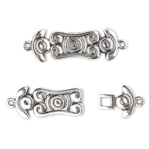 clasp, jbb findings, hook, antiqued sterling silver, 25x10mm. sold individually.