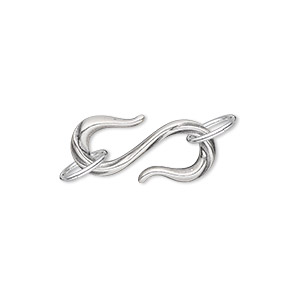 clasp, jbb findings, s-hook, antique silver-plated pewter (tin-based alloy), 22x10mm with (2) 8mm jumprings and single-sided line design. sold individually.